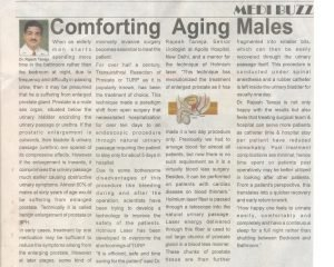 Article on comforting Aging Males by Dr. Rajesh Taneja